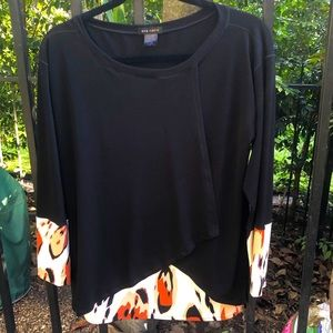 Eva Varro black with print contrast blouse / shirt